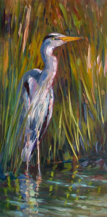 Warm Light—Heron Peeking Through the Grasses
